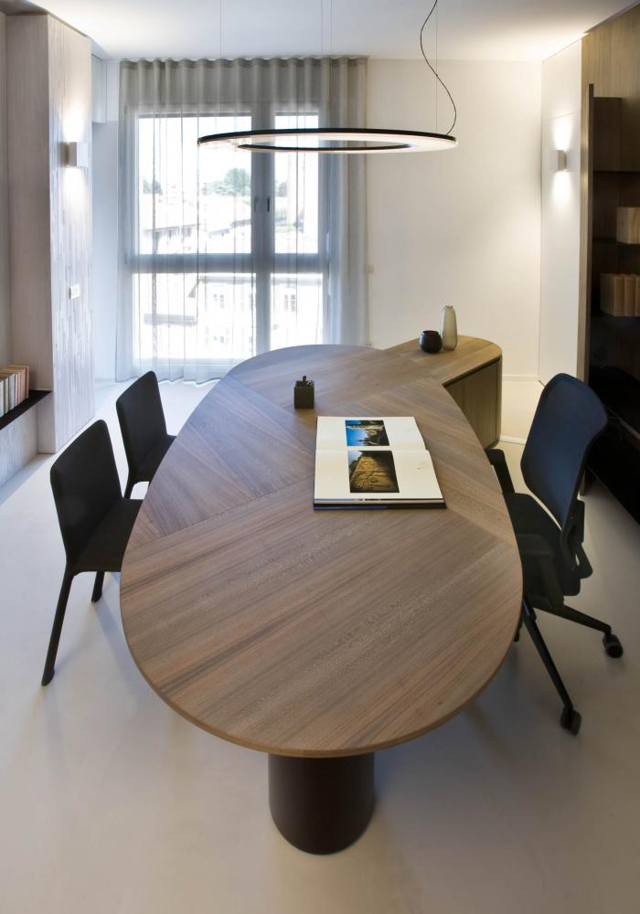 laurameroni luxury and elegant customized corporate modern design ceo office with integrated cabinets and panels in elm wood