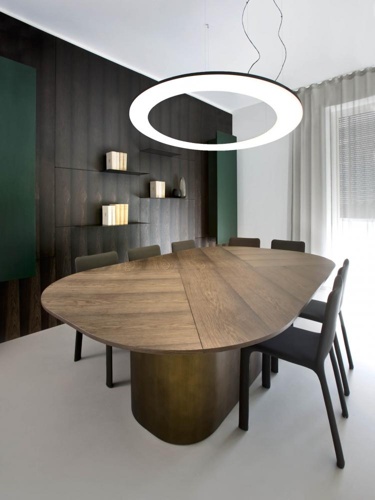 laurameroni luxury custom made oval conference room table in elm wood hand made in italy