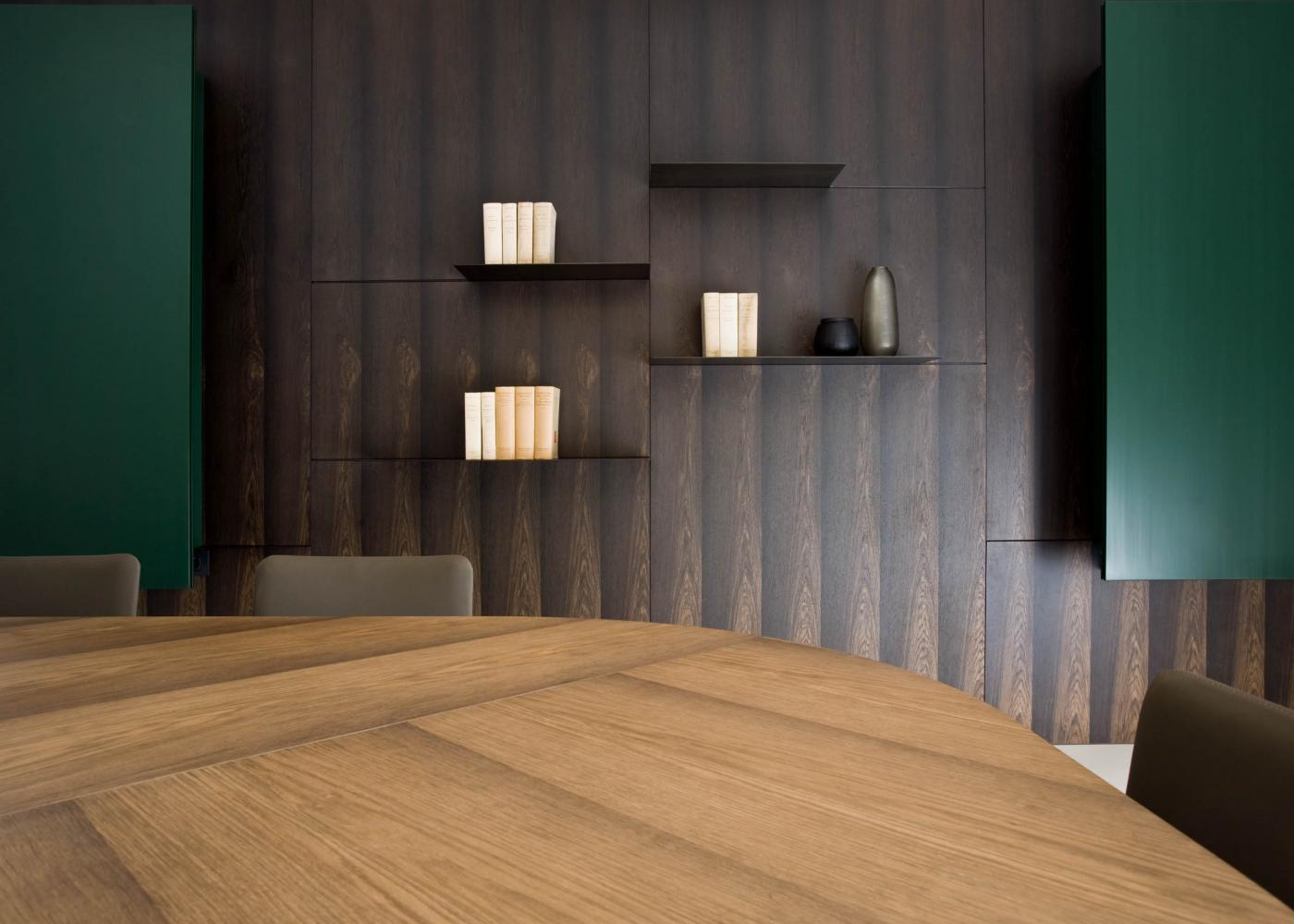 laurameroni luxury custom made wall panels for conference room in stone oak wood hand made in italy