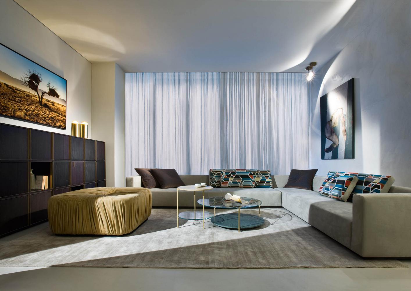 lounge sofa displayed at laurameroni factory showroom in alzate brianza como italy