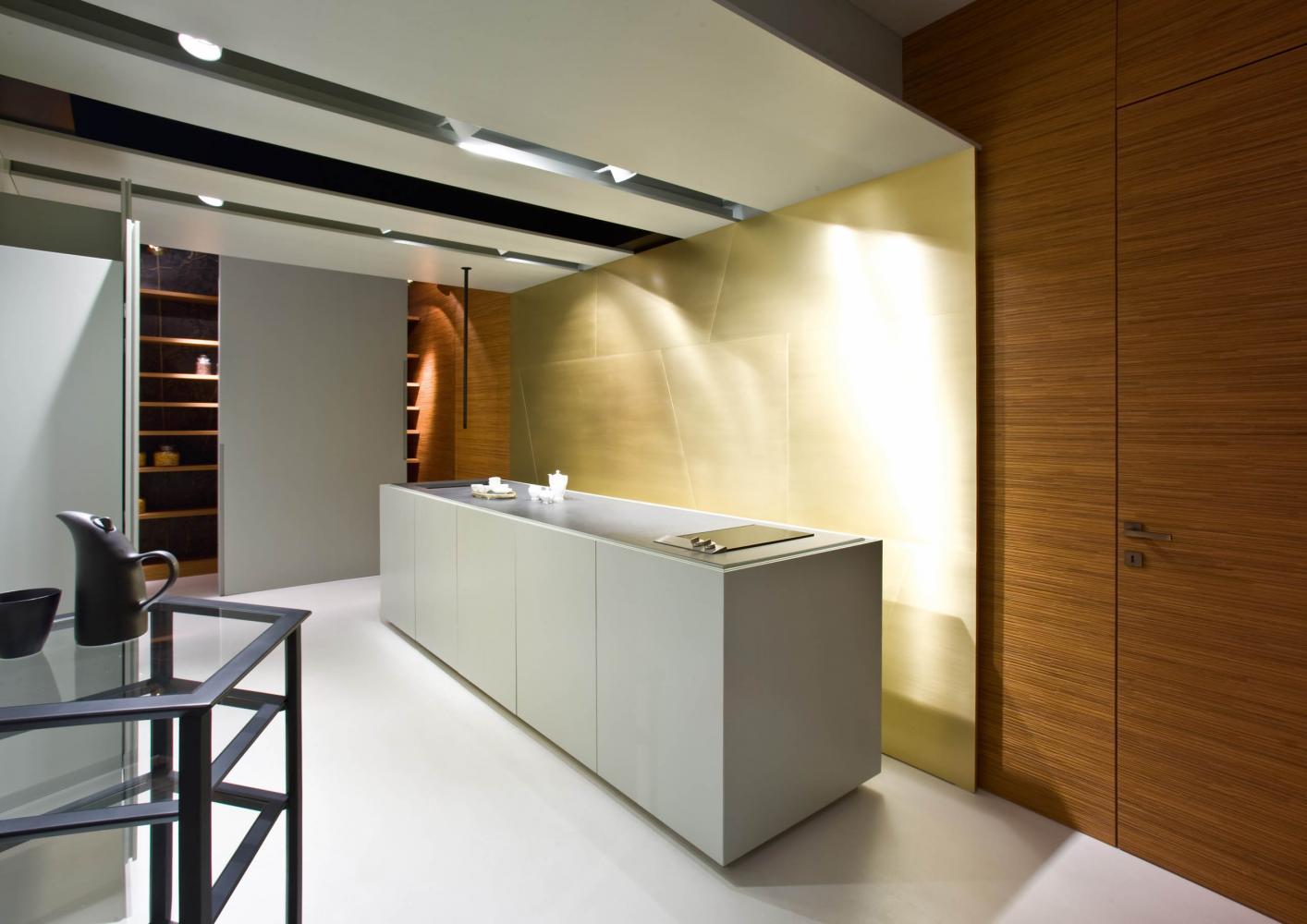 kitchen displayed at laurameroni factory showroom in alzate brianza como italy