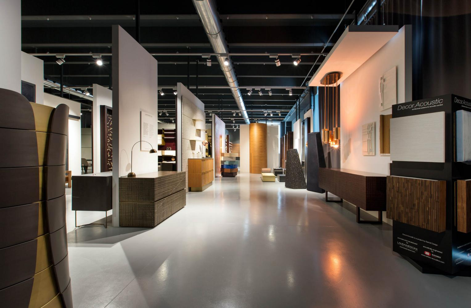 view of laurameroni factory showroom in alzate brianza como italy