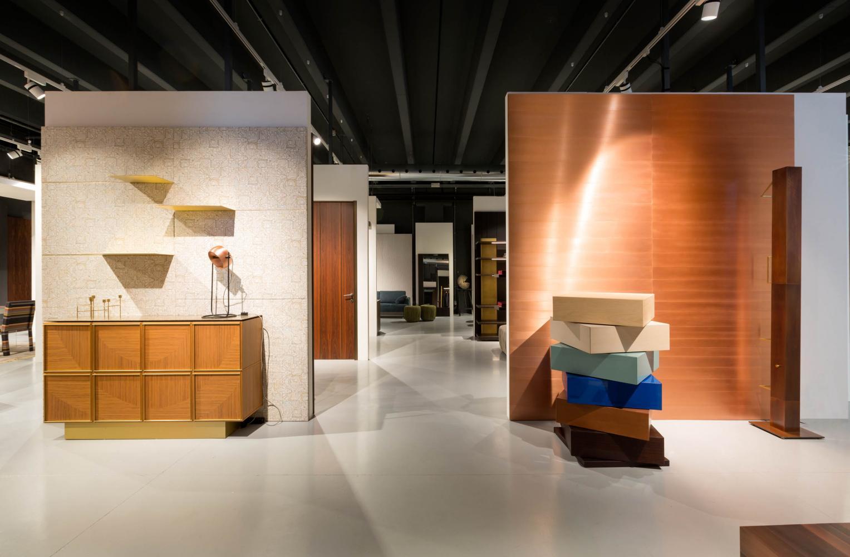 view of laurameroni factory showroom in alzate brianza como italy