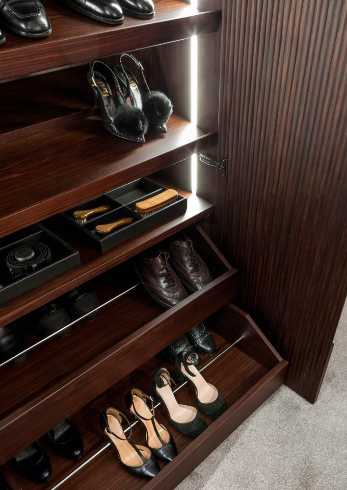 custom made wardrobes in wood with onda carved hinged doors and shoe racks