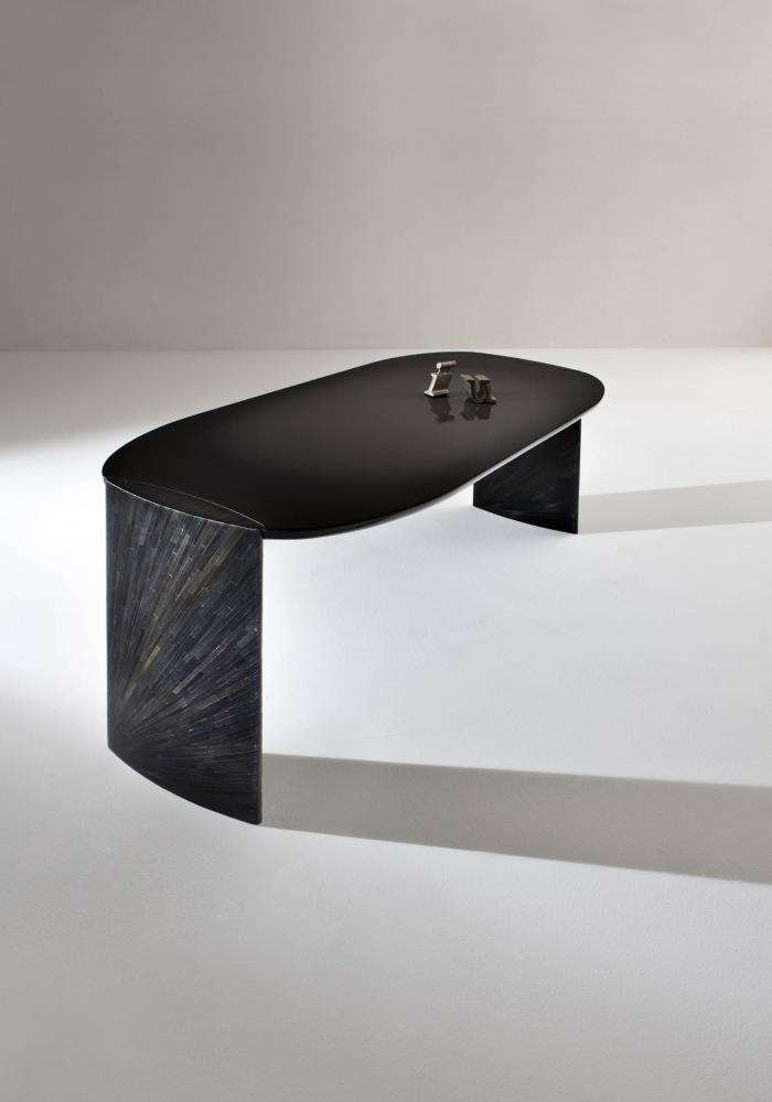 poe by laurameroni is a modern design luxury writing desk with glossy lacquered top and black rye straw legs