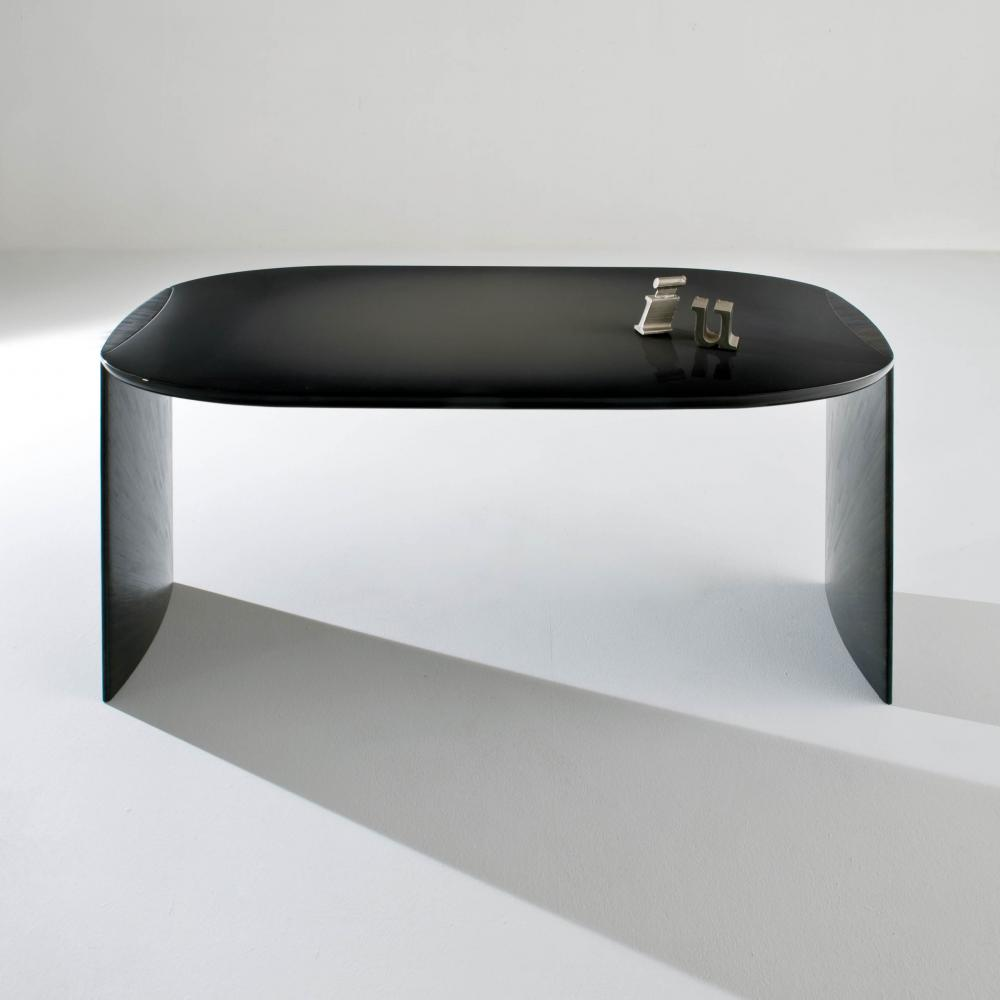 poe by laurameroni is a minimal design luxury writing desk with glossy lacquered top and black rye straw legs