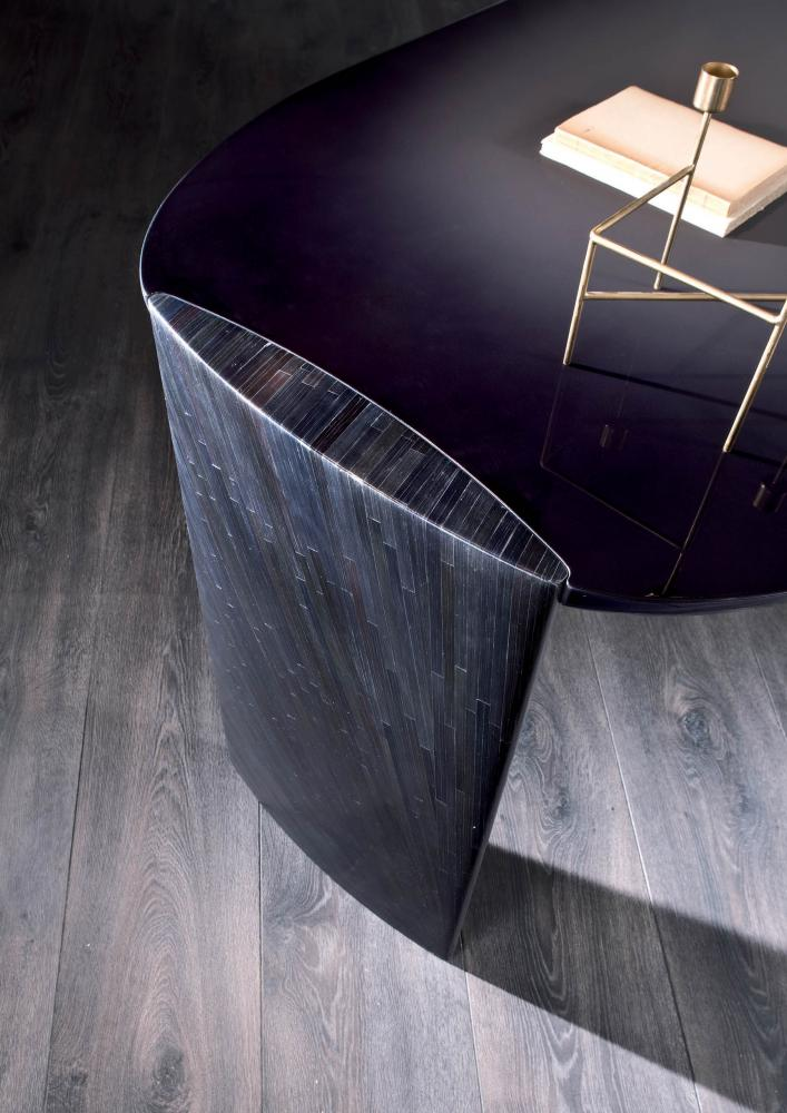 the glossy shaded lacquered top of poe luxury writing desk by laurameroni