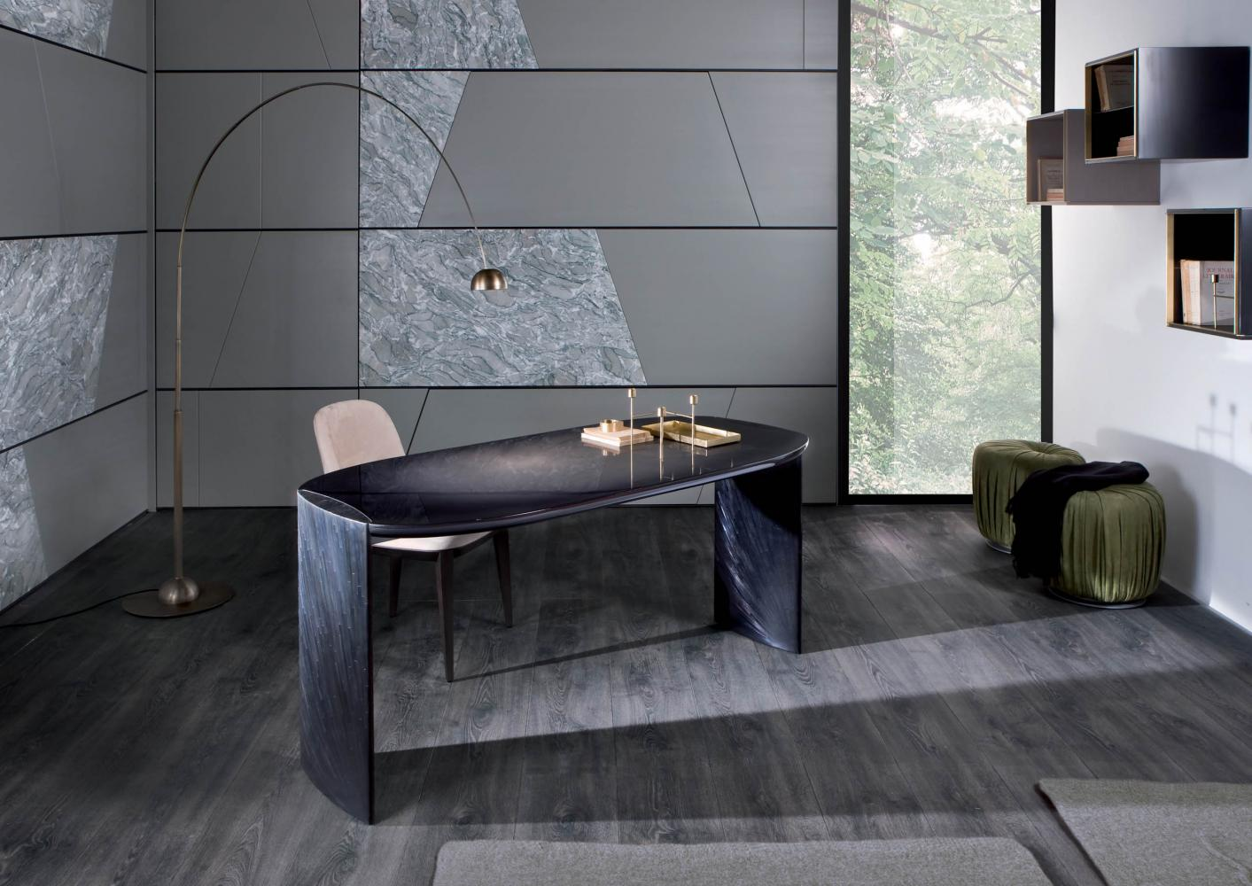 modern design luxury home studio by laurameroni with minimal design desk in black glossy lacquered