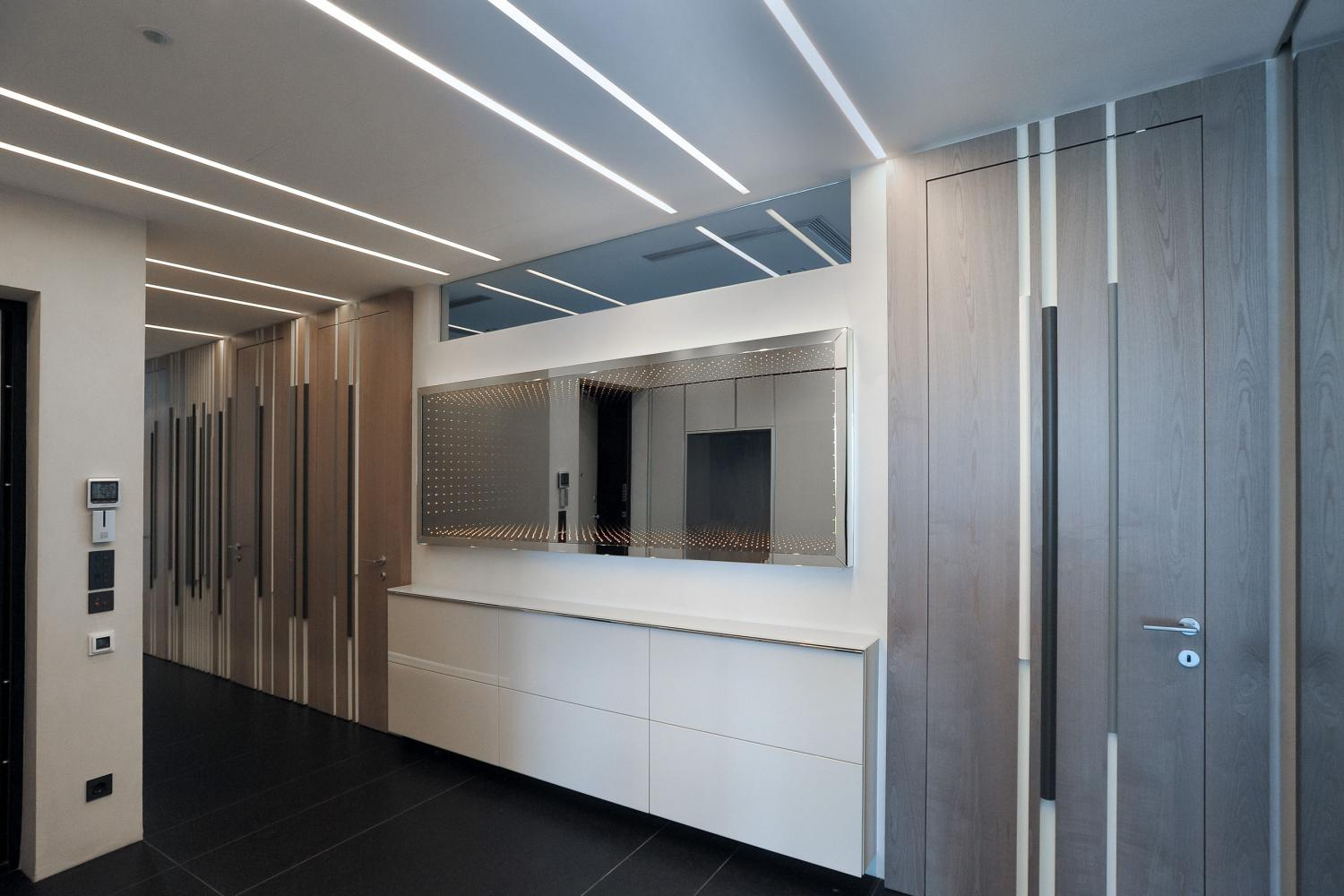 Bamboo wall panels and doors by Laurameroni in a luxury modern flat interior design in moscow