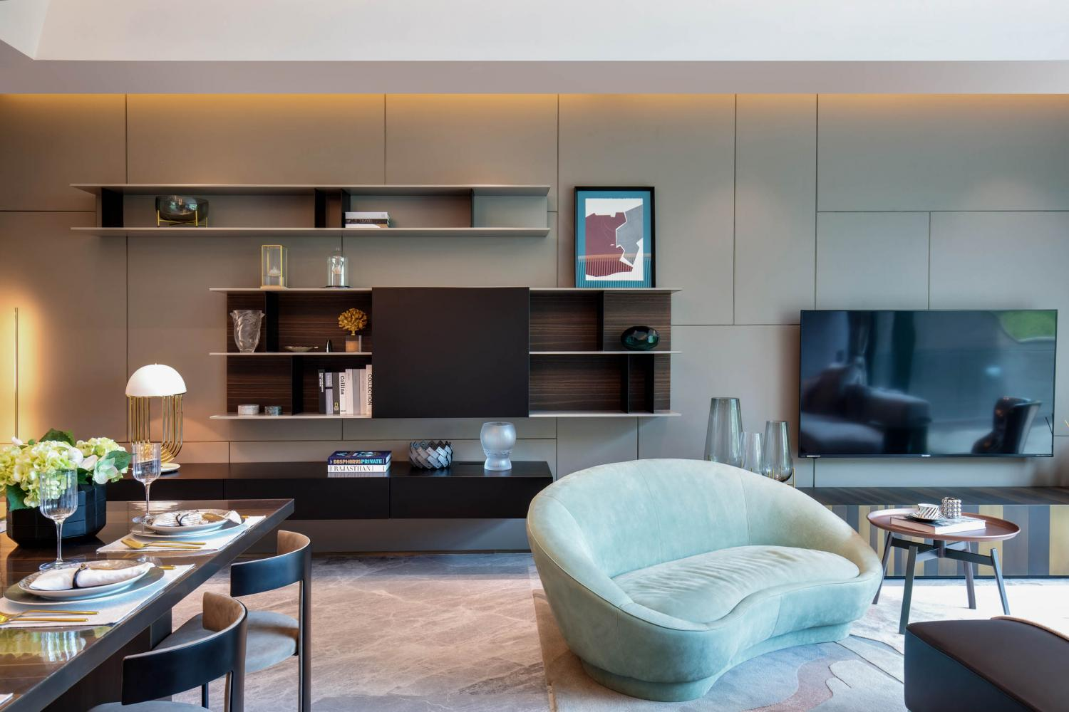 Laurameroni luxury private apartment in Hong Kong Redhill modern tv corner, drawer, lowtables clad in metal made in italy