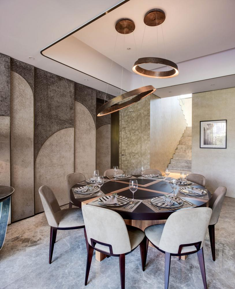 Laurameroni luxury apartment Stanley Hong Kong modern wooden table and velvet chairs dining room design