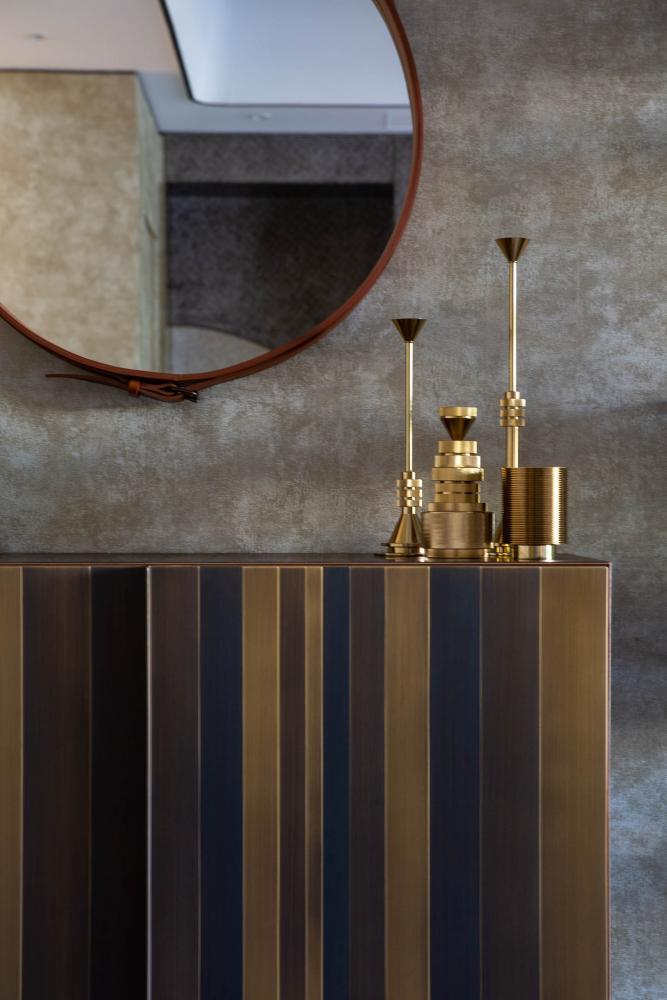 Laurameroni luxury apartment Stanley Hong Kong modern sideboard chest of drawers clad in metal design