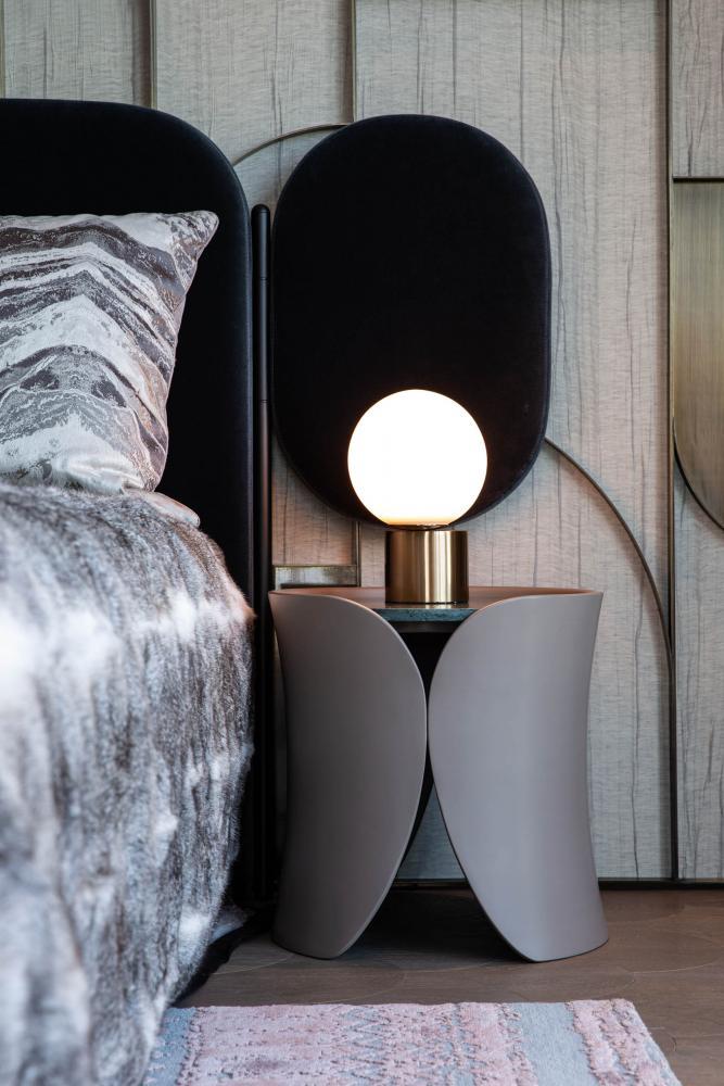 Laurameroni luxury apartment Stanley Hong Kong modern bedside table design