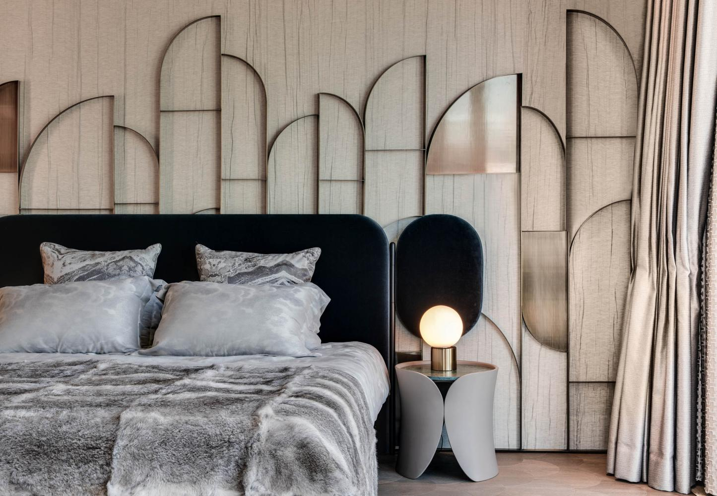 Laurameroni luxury apartment Stanley Hong Kong modern bedside table bedroom design