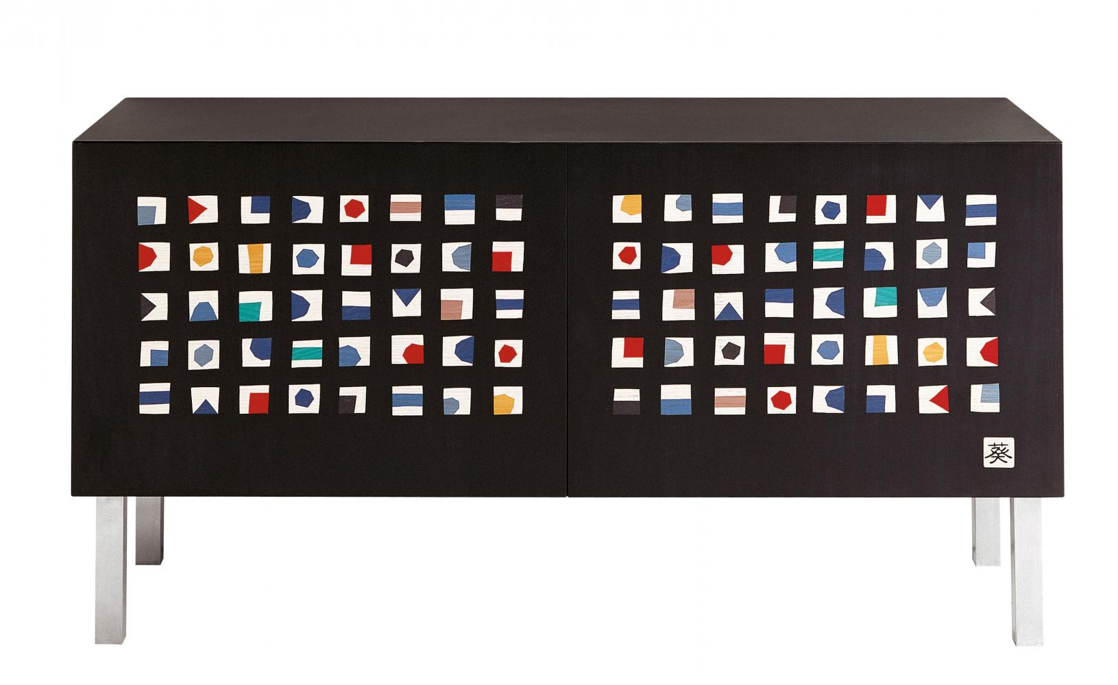 Quadratini Magici Intarsia limited edition sideboard with inlays by Aoi Huber Kono