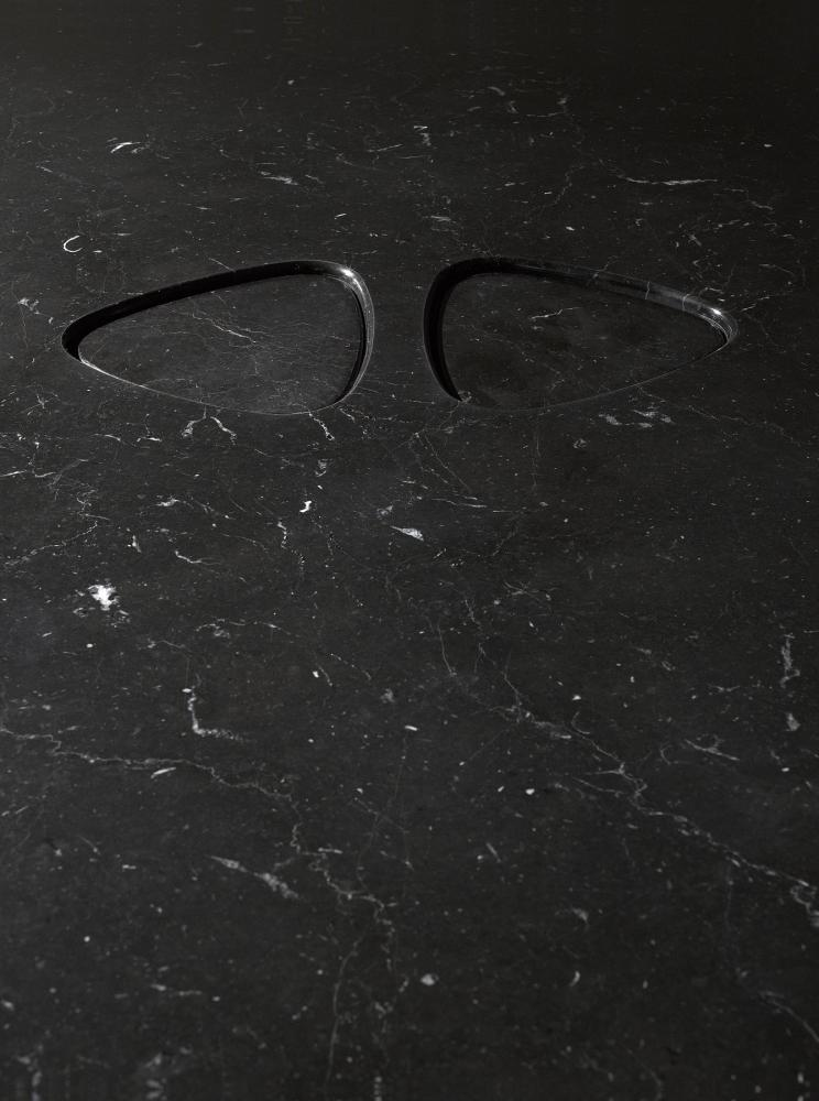 Rectangular solid marble table in black marquina