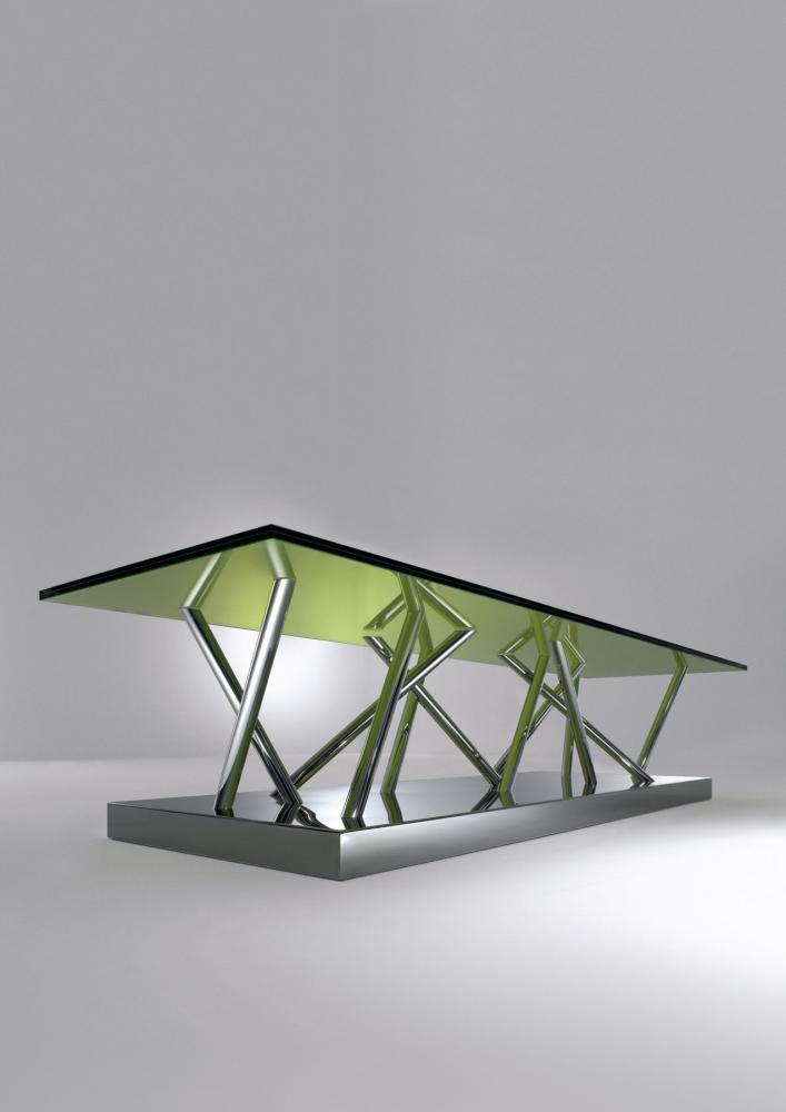Contemporary recatngular low table in glass and steel by Ettore Sottsass