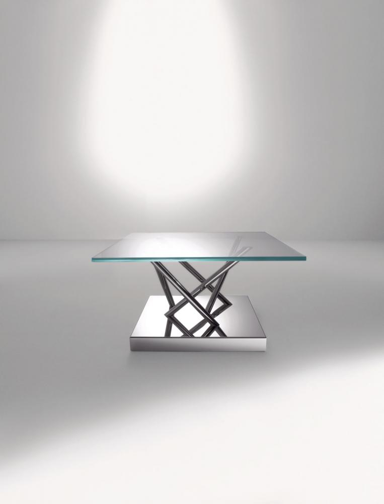 Contemporary square low tables in glass and steel by Ettore Sottsass