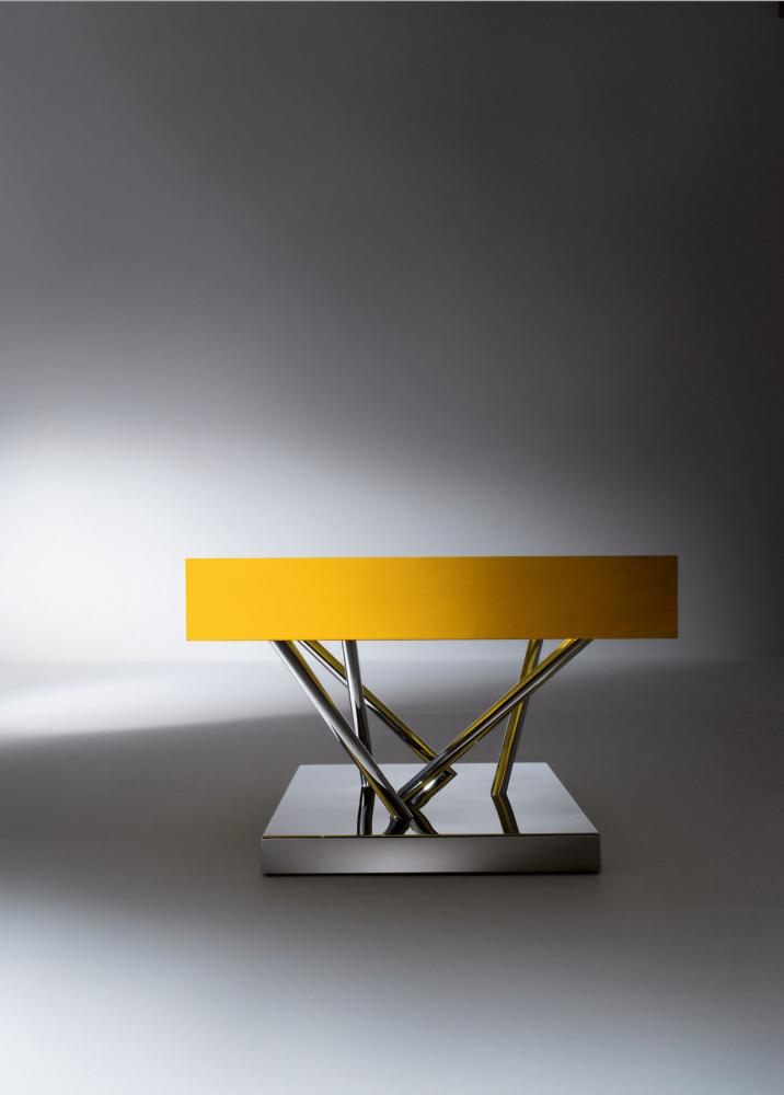 Contemporary square low table with drawer in glass and steel by Ettore Sottsass