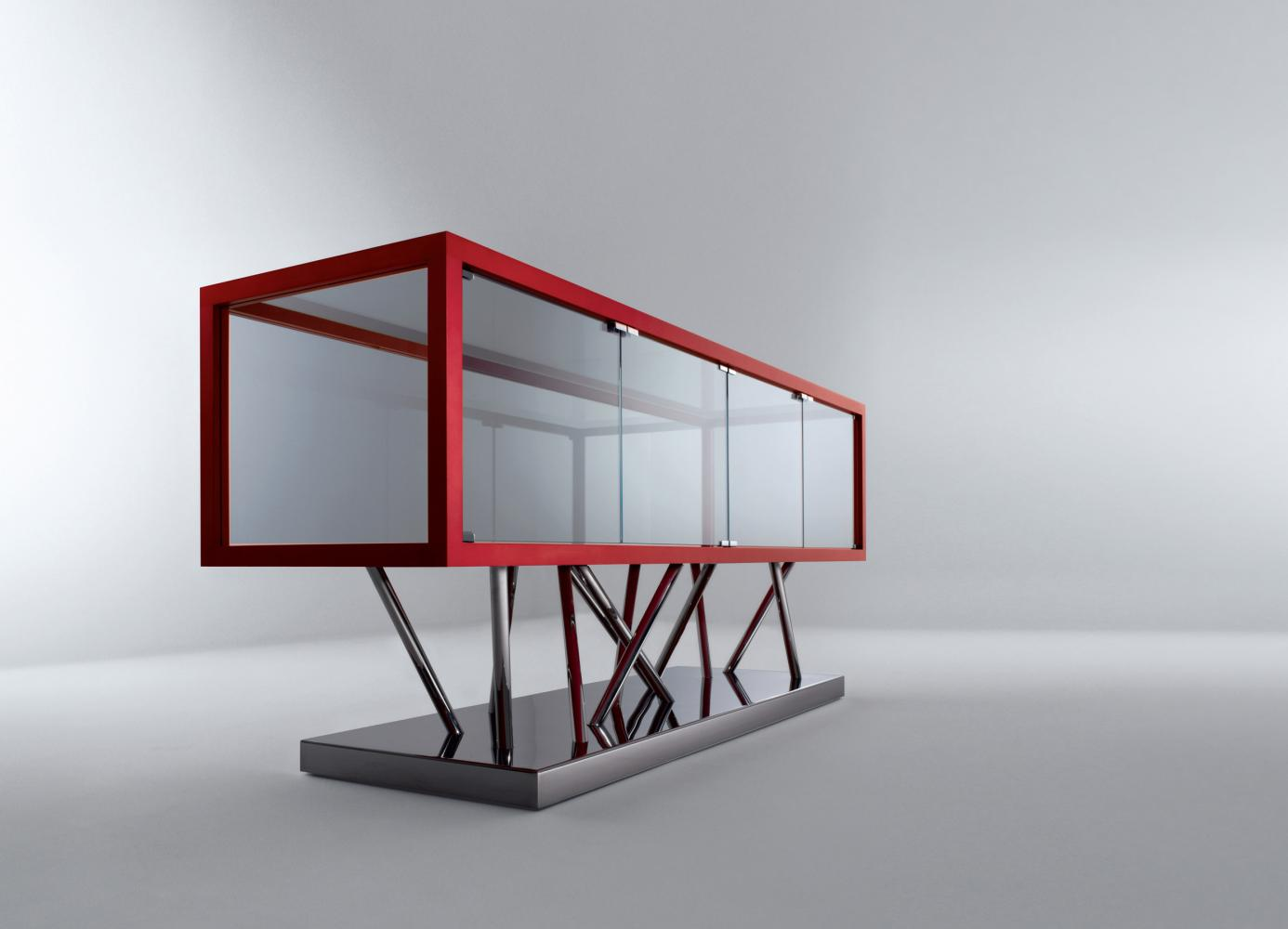 Contemporary low sideboard in glass and steel by Sottsass Associati