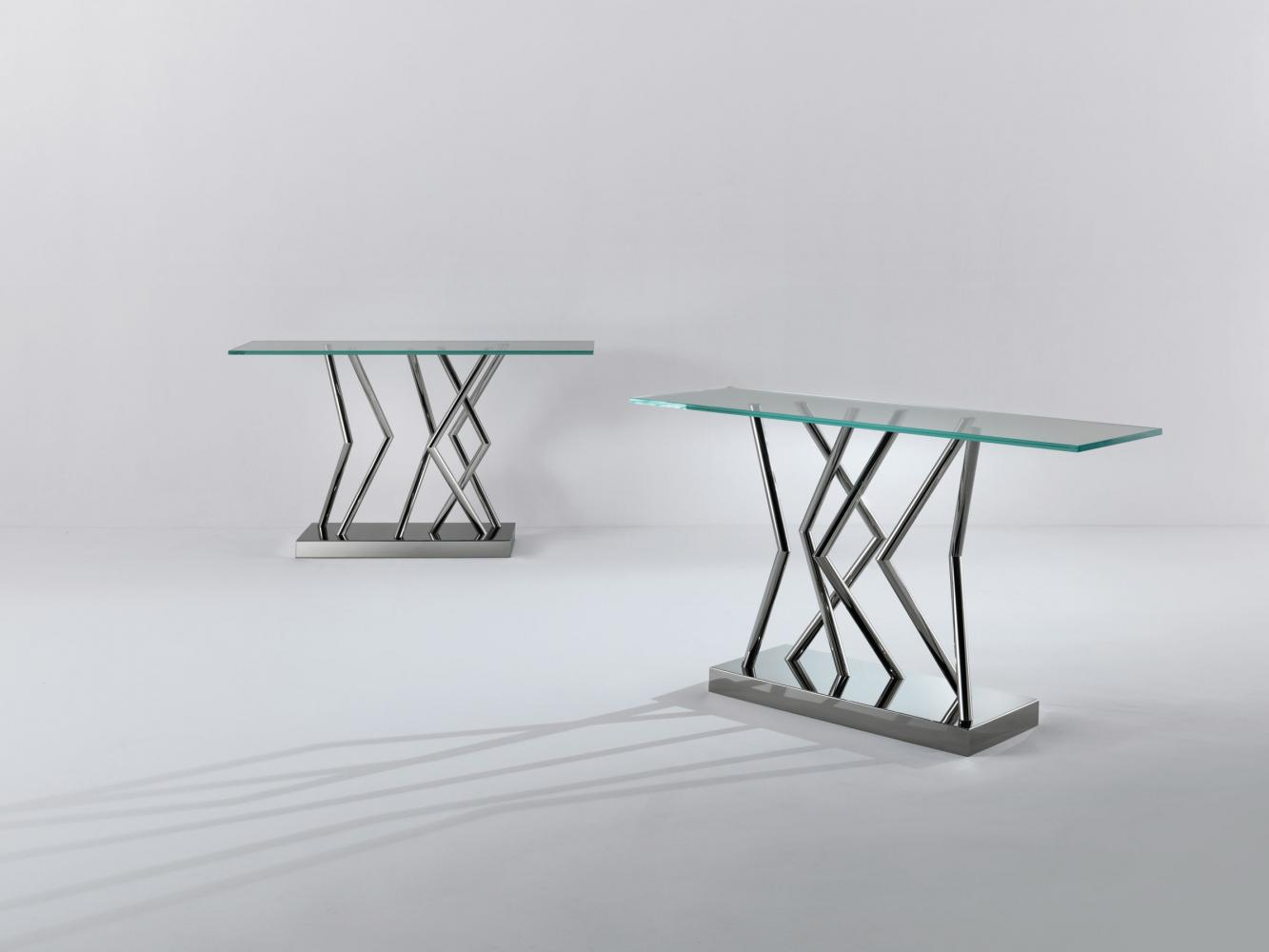 SA 06 contemporary crystal and steel console table design by Sottsass Associati