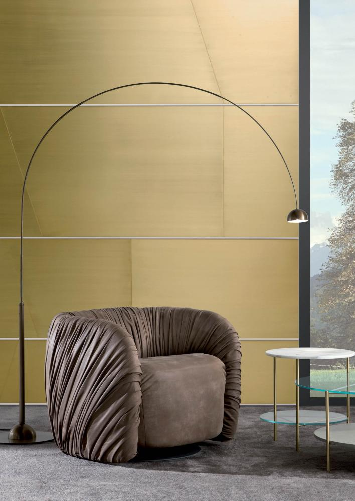 Luxury modern floor lamp Satellite CG 50 with arc structure in burnished brass