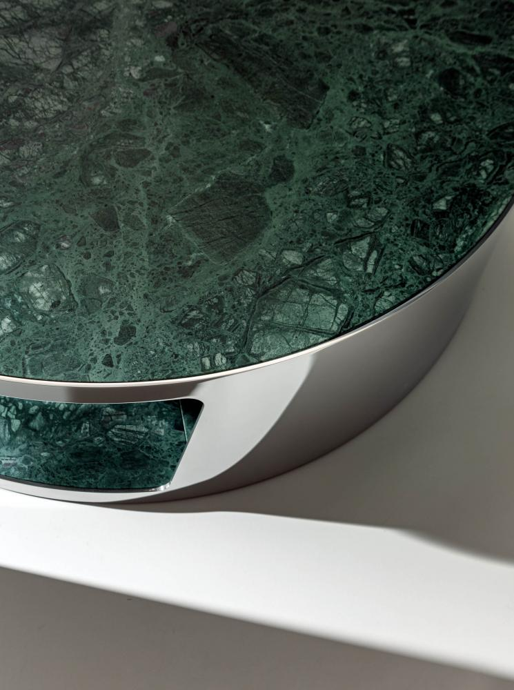 Shadow luxury modern design round coffee tables in polished steel and marble