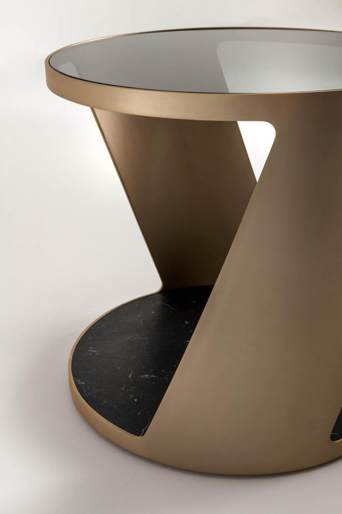 Shadow luxury modern design round coffee tables in metal brass finish, marble and crystal glass
