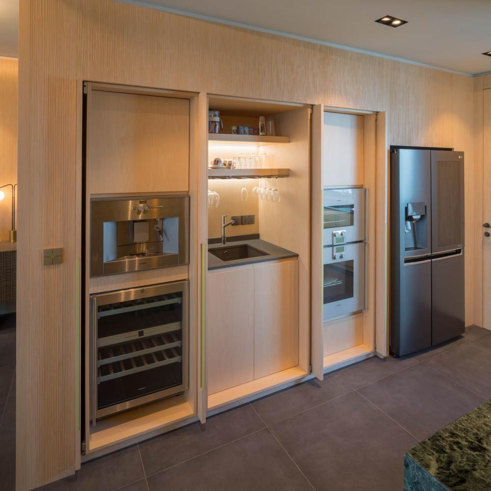 pocket kitchen doors in maple carved wood