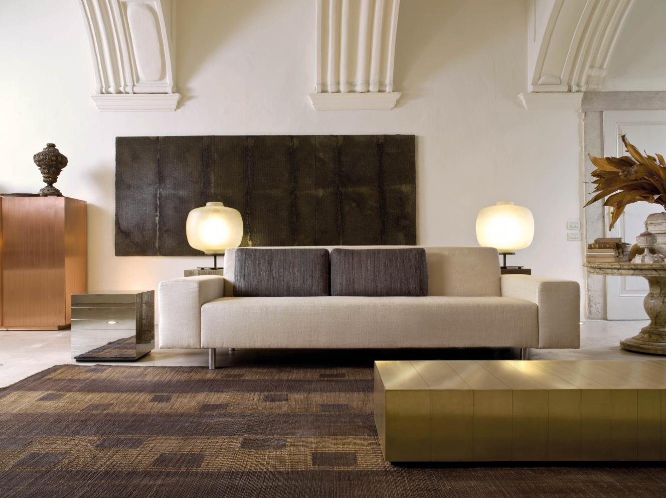 Presto is a modern sofa with minimal design available in leather, fabric or velvet