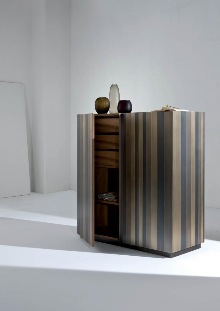 ST 01 Luxury high sideboard cladded in brass, copper, iron or stainless steel