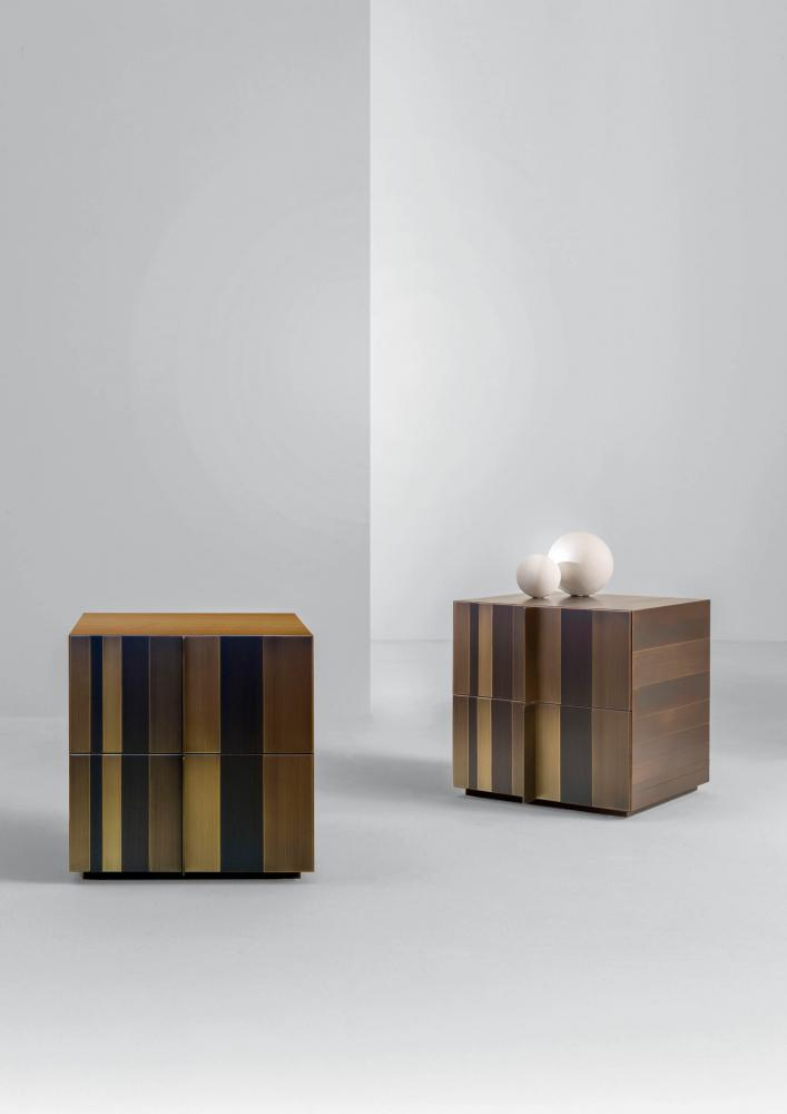 Luxury modern bedside table ST 09 clad in brass, copper, iron or stainless steel