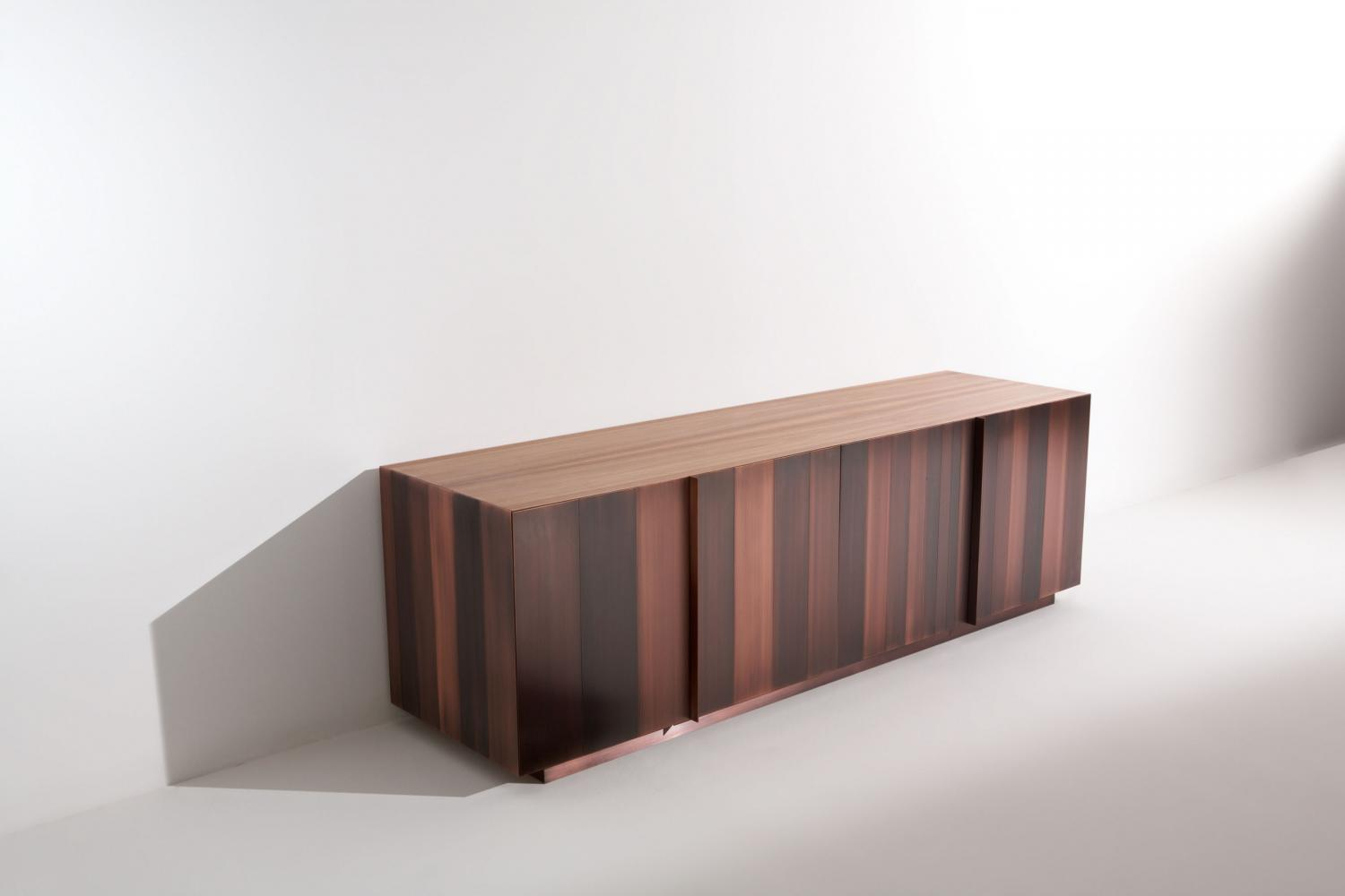 ST 11 Luxury custom size low sideboard clad in brass, copper, iron or stainless steel