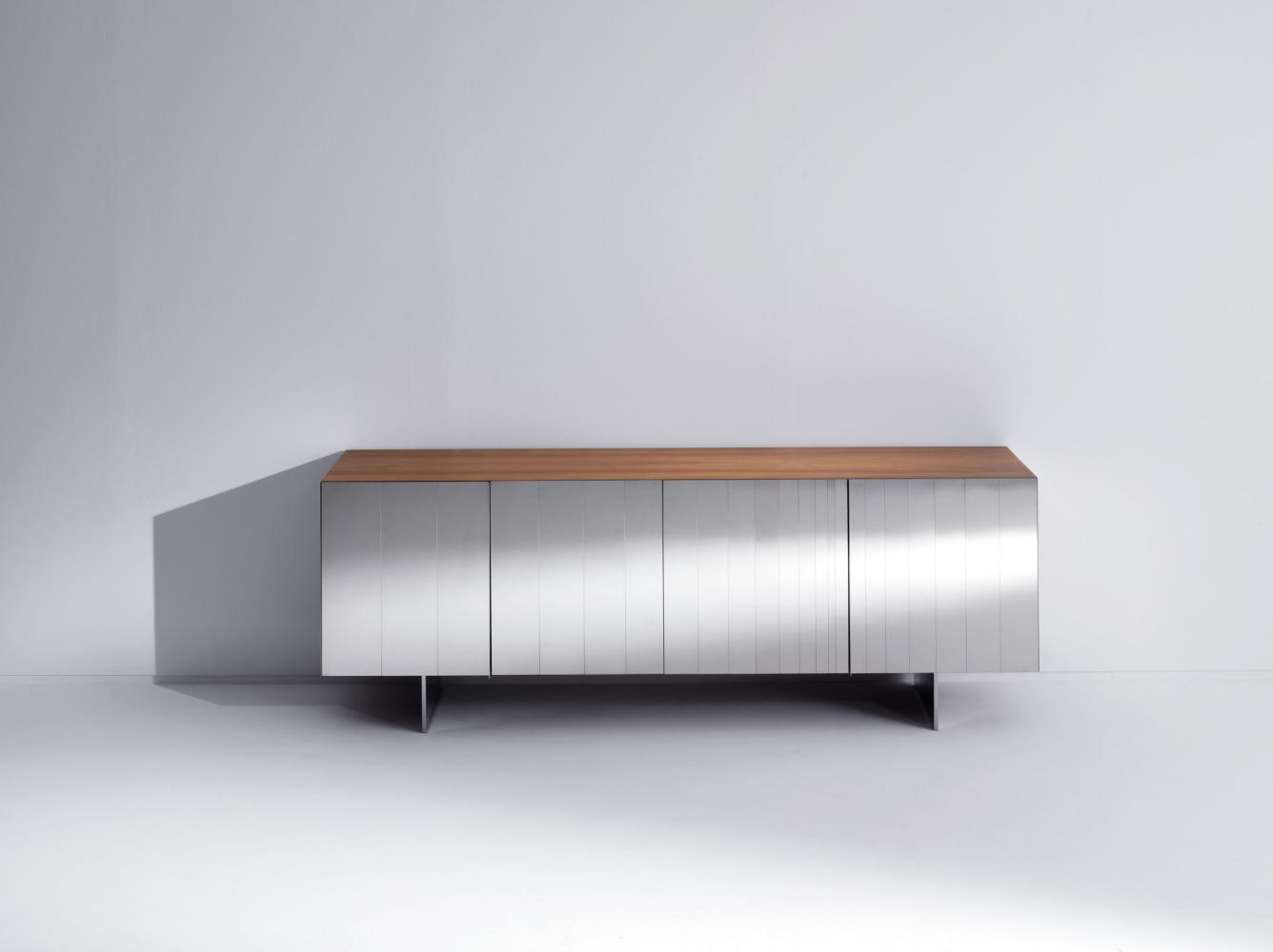 ST 12 Luxury custom size low sideboard clad in stainless steel