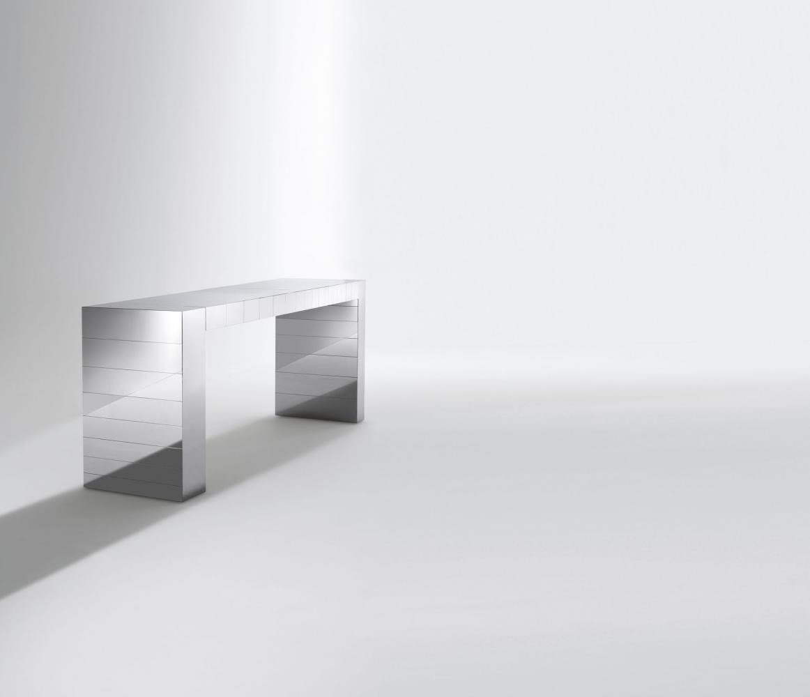 ST 21 Luxury modern console table cladded in stainless steel polished