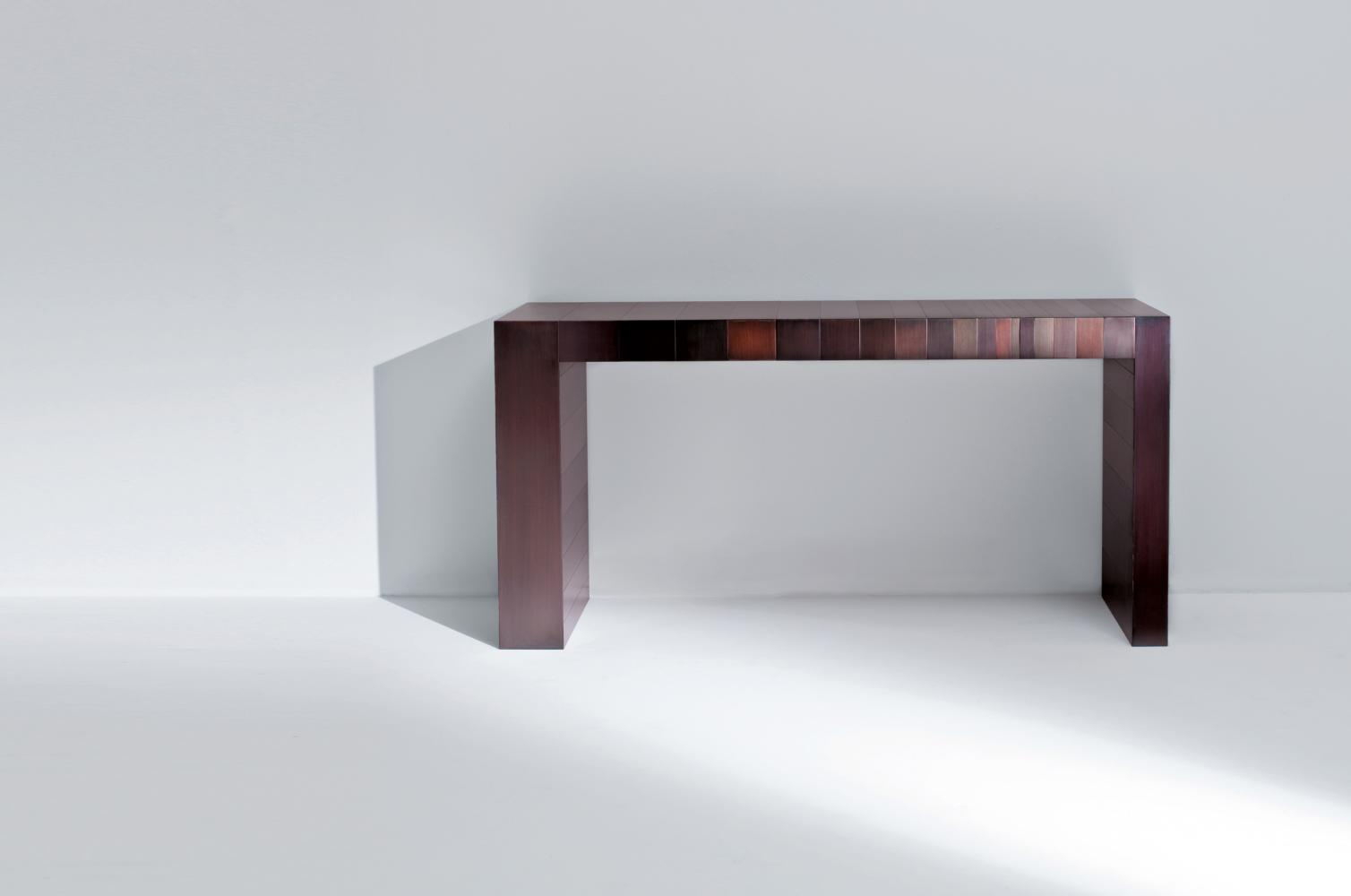ST 21 Luxury modern console table cladded in burnished copper