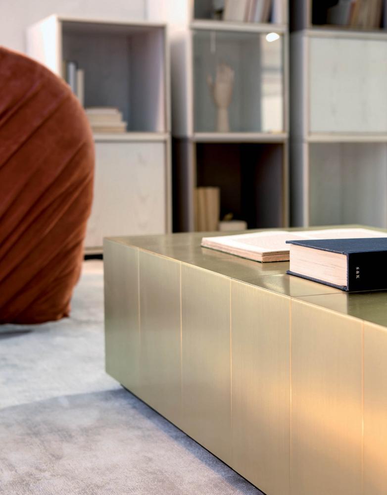 Bespoke modern low tables cladded in satin brass metal
