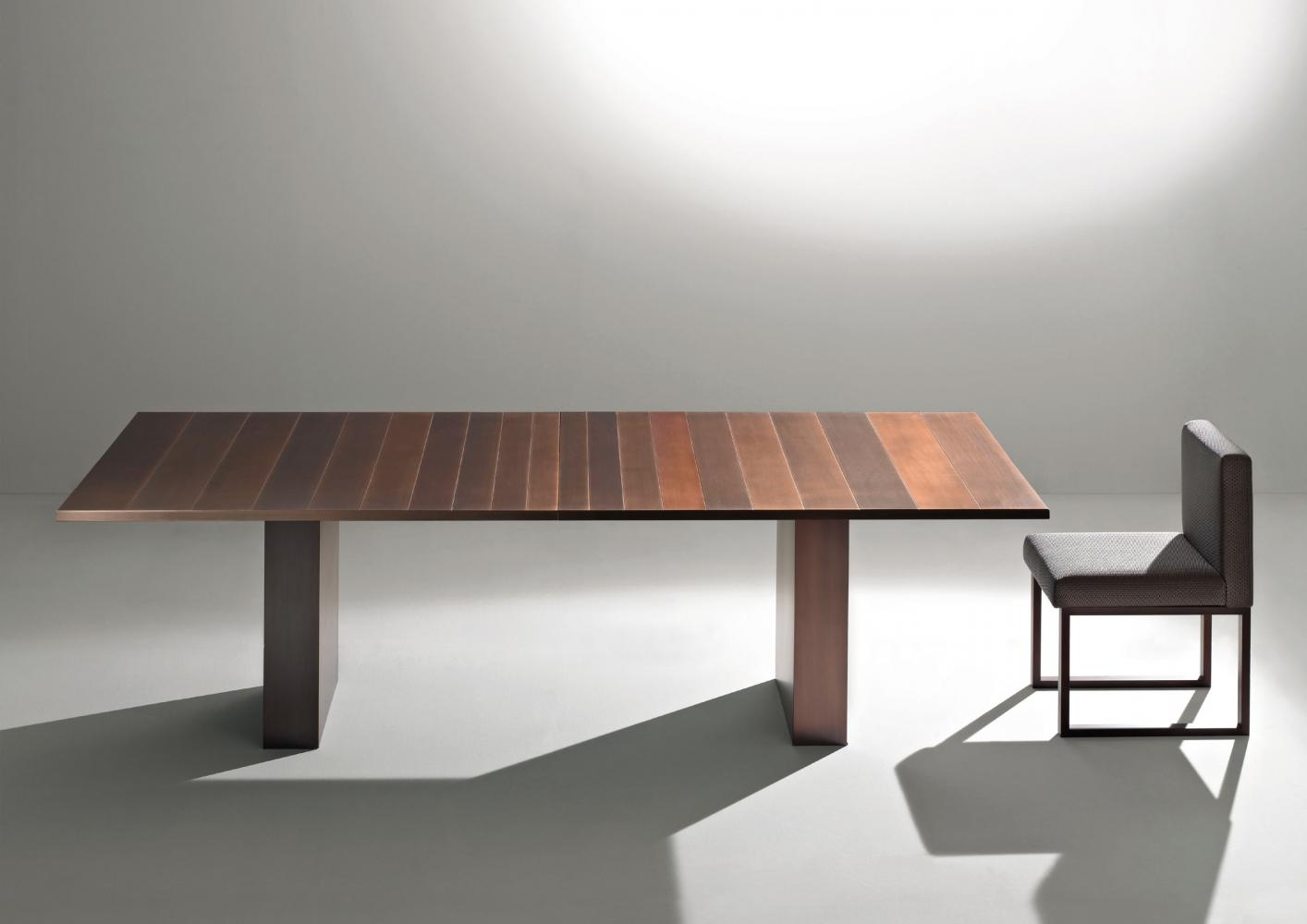 Luxury custom made table cladded in burnished copper