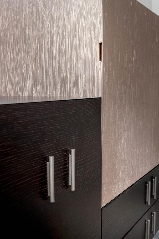 modern luxury modular storage system in wood and special lacquered surface