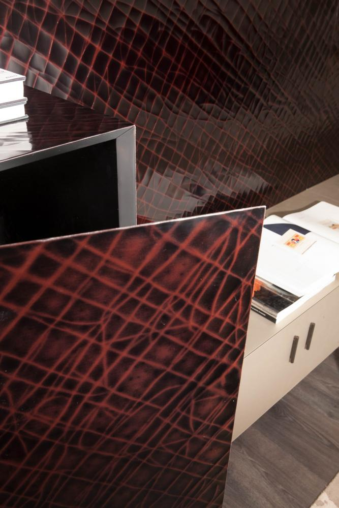 modular luxury storage system configured as a tv unit in special lacquered surface
