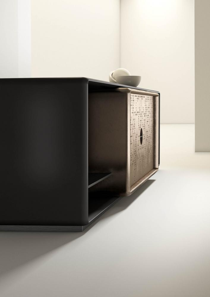 Talento modern low sideboard customizable in wood, metal and textures