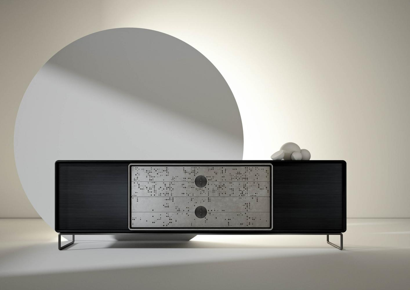Talento Up customizable sideboard with burnished brass base and natural wood or brush matt laquered structure