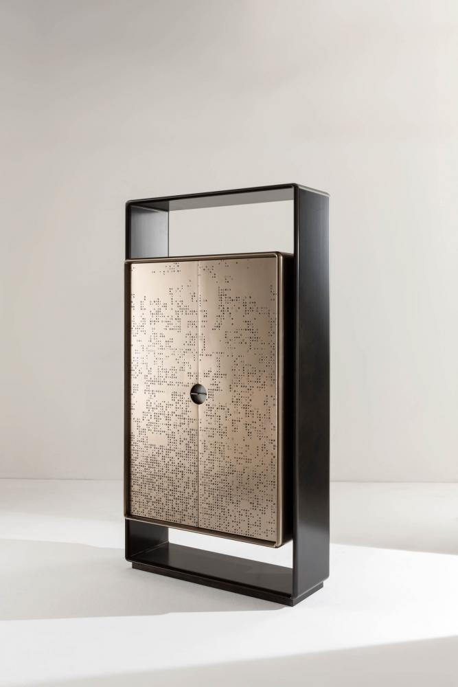 Talento tall unit cabinet with black laquered structure and bronze liquid metal doors