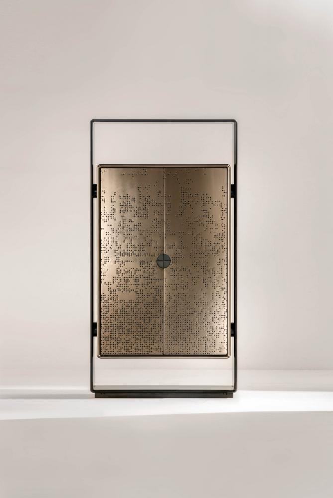 Talento minimal and modern design cabinet with black laquered structure and bronze liquid metal doors with inside led lights