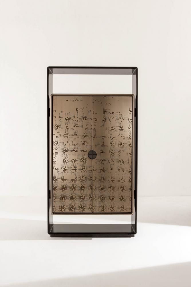 Talento luxury modern design cabinet with black laquered structure and bronze liquid metal doors with inside led lights