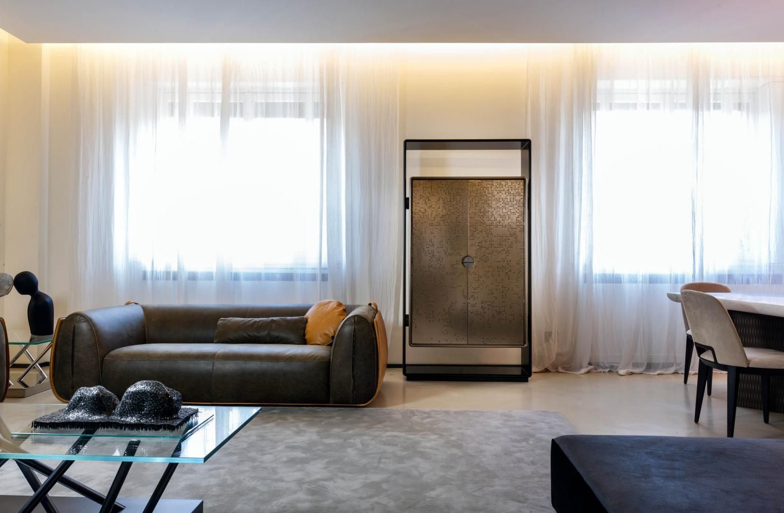 modern design luxury apartment with liquid metal cabinet and nubuck leather sofa