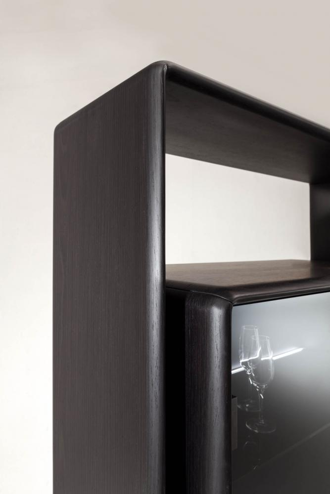 luxury modern minimal design cabinet with black wood or lacquered structure and glass doors
