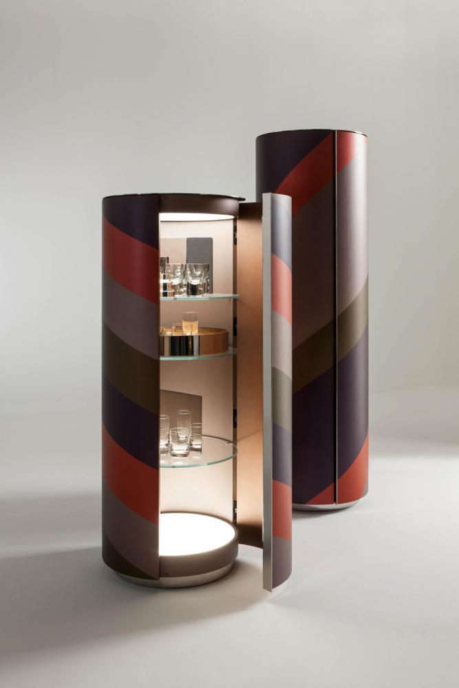 luxury modern design multi colour cylindrical bar cabinets with polished steel internal part