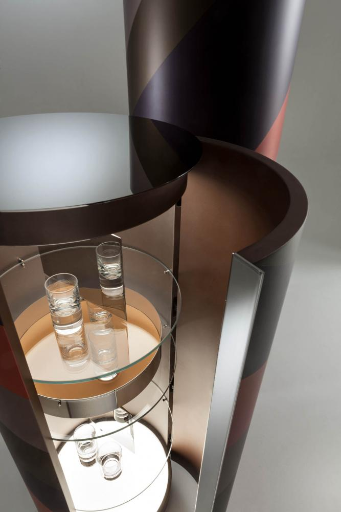 luxury modern design multi colour cylindrical cabinets with polished steel internal part