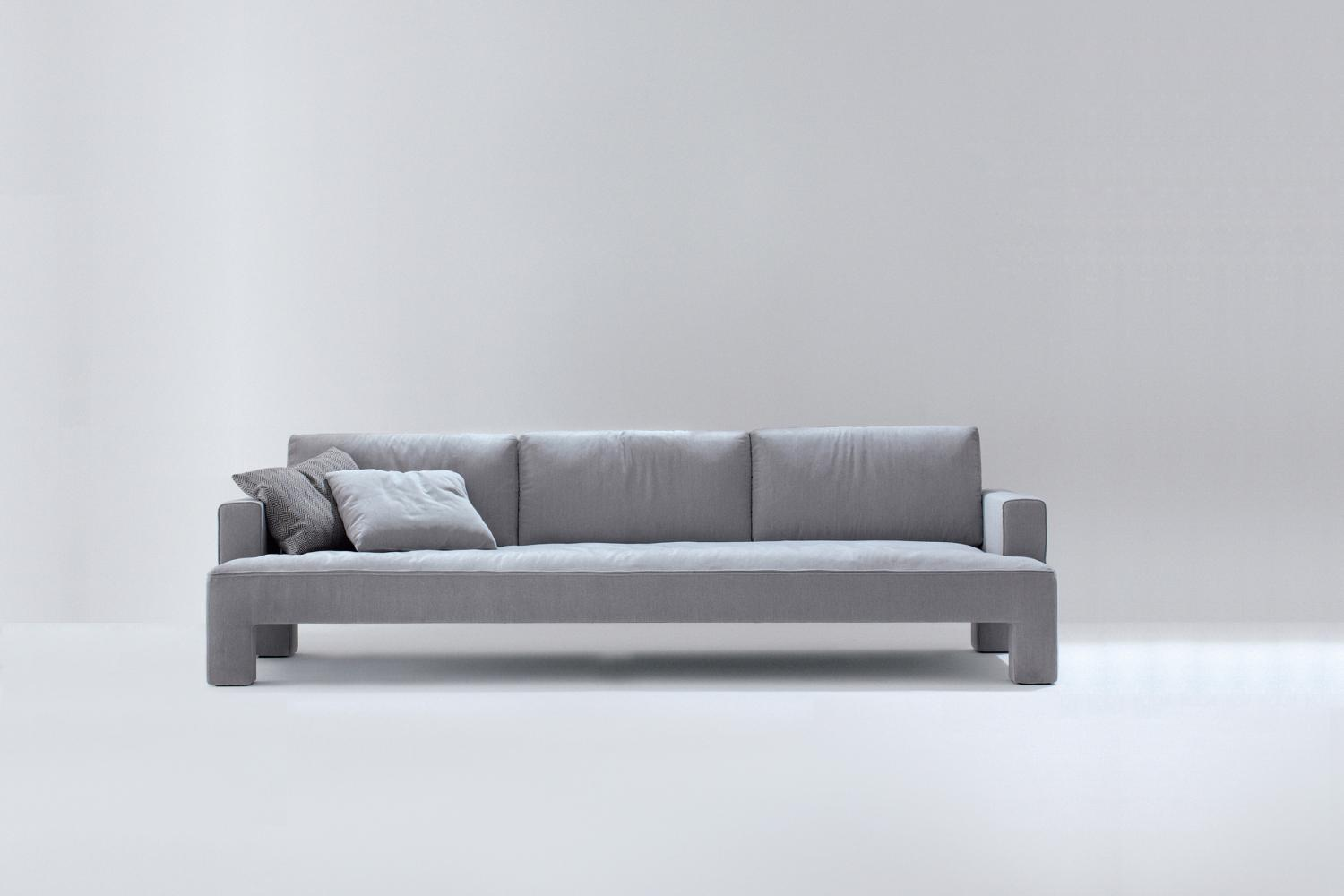 Three seater modern luxury sofa in leather or fabric